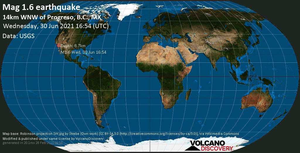 Sehr schwaches Beben Stärke 1.6 - 14km WNW of Progreso, B.C., MX, am Mittwoch, 30. Jun 2021 um 16:54 GMT