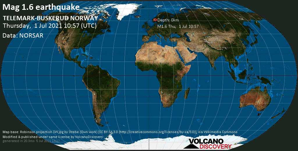 Minor mag. 1.6 earthquake - Sør-Aurdal, 88 km west of Hamar, Innlandet, Norway, on Thursday, July 1, 2021 at 10:57 (GMT)