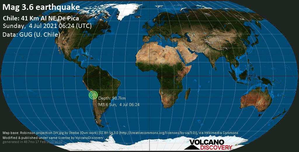 Schwaches Erdbeben Stärke 3.6 - Provincia del Tamarugal, 124 km östlich von Iquique, Tarapaca, Chile, am Sonntag,  4. Jul 2021 um 06:24 GMT