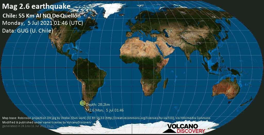 Minor mag. 2.6 earthquake - South Pacific Ocean, 55 km southwest of Castro, Chiloe, Los Lagos Region, Chile, on Monday, July 5, 2021 at 01:46 (GMT)