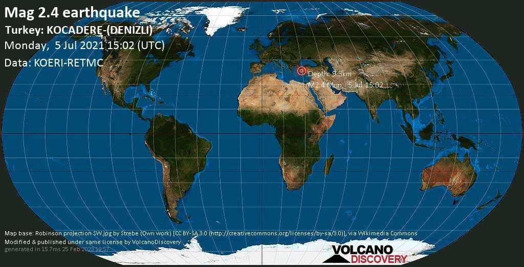 Sismo debile mag. 2.4 - 18 km a nord est da Denizli, Turchia, lunedì, 05 lug. 2021 15:02