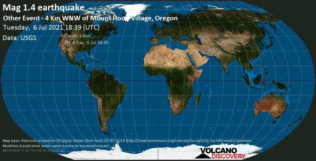 Minor mag. 1.4 earthquake - Other Event - 4 Km WNW of Mount Hood Village, Oregon, on Tuesday, July 6, 2021 at 18:39 (GMT)