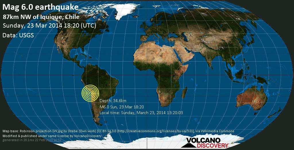 Forte terremoto magnitudine 6.0 - South Pacific Ocean, 87 km a nord ovest da Iquique, Regione di Tarapacá, Cile, domenica, 23 marzo 2014