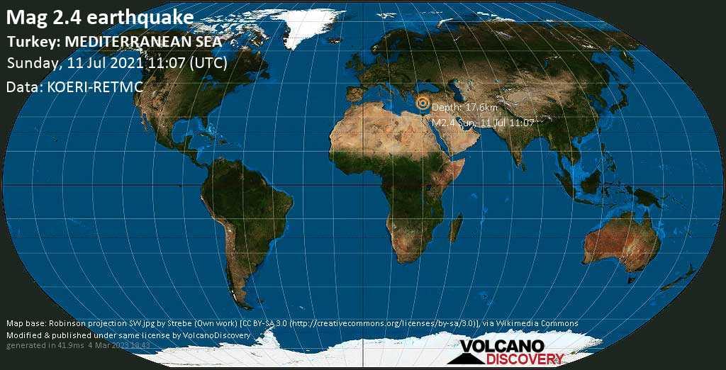Schwaches Erdbeben Stärke 2.4 - Eastern Mediterranean, 76 km südlich von Alanya, Antalya, Türkei, am Sonntag, 11. Jul 2021 um 11:07 GMT