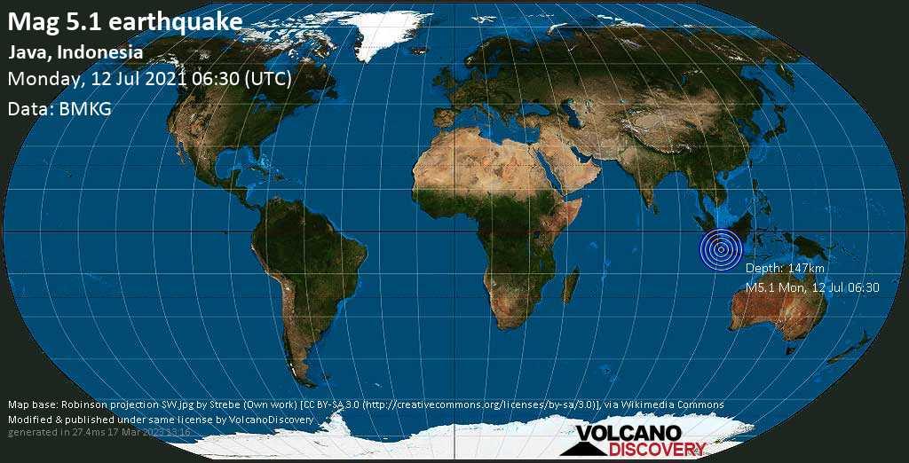 Séisme modéré mag. 5.1 - 20 km au sud-ouest de Pandeglang, Banten, Indonésie, lundi, le 12 juillet 2021 06:30
