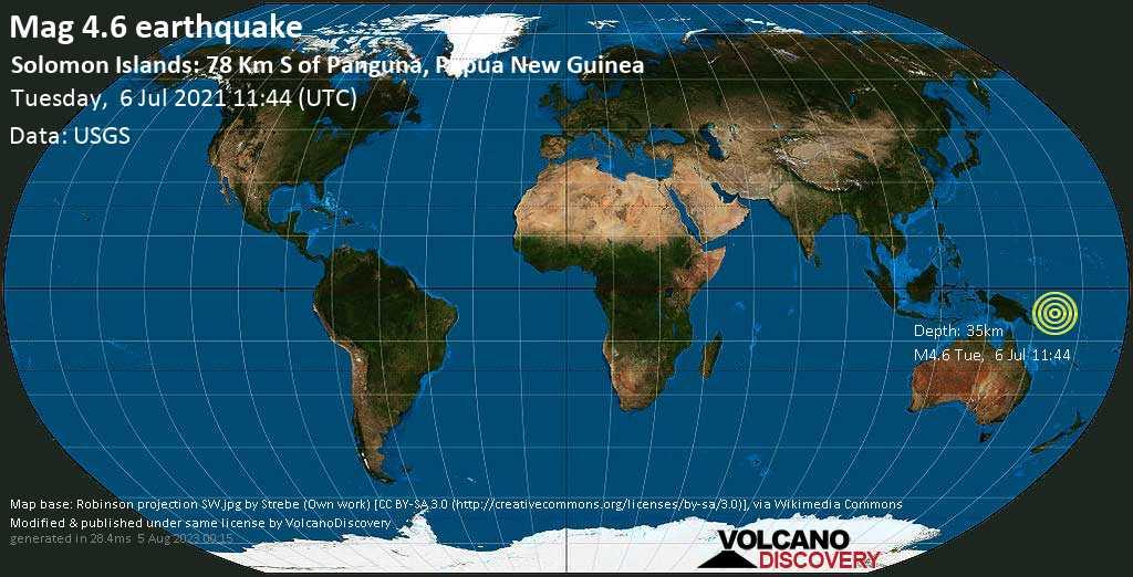 Terremoto moderato mag. 4.6 - Solomon Sea, Isole Salomone, 88 km a sud da Arawa, Papua Nuova Guinea, martedì, 06 lug. 2021 11:44