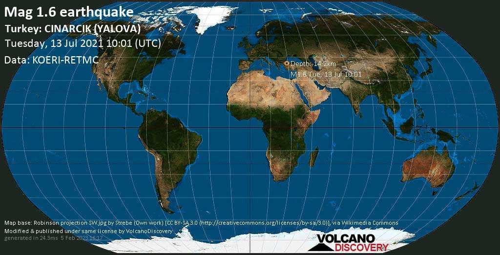 Minor mag. 1.6 earthquake - Sea of Marmara, 16 km west of Yalova, Turkey, on Tuesday, July 13, 2021 at 10:01 (GMT)