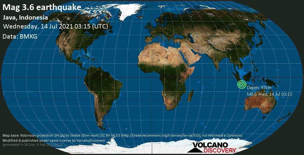 Sismo debile mag. 3.6 - 38 km a sud da Pelabuhanratu, Giava Occidentale, Indonesia, mercoledì, 14 lug. 2021 03:15
