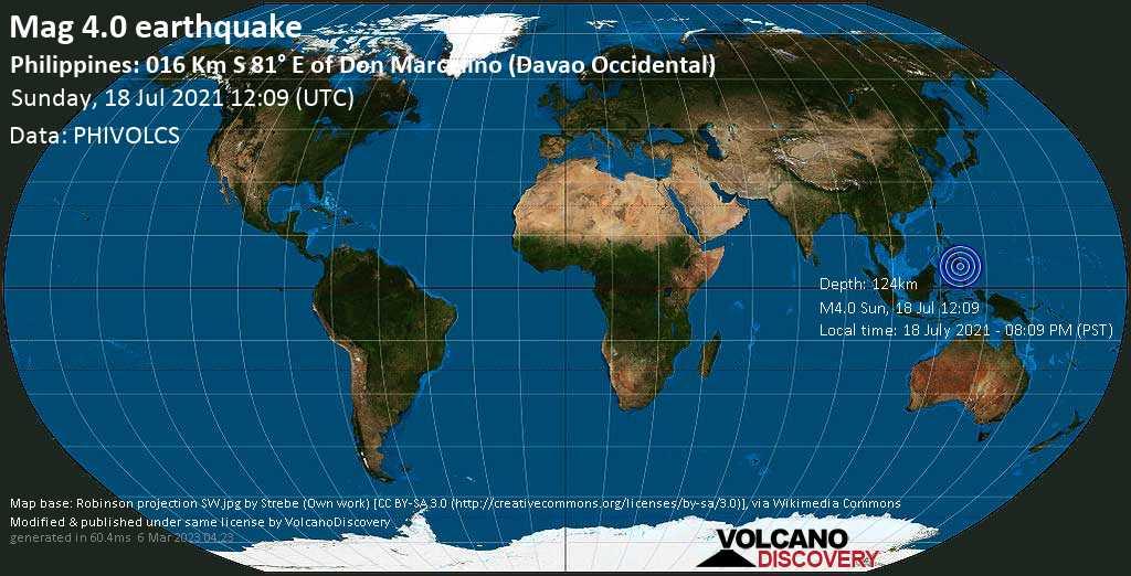 Sismo leggero mag. 4.0 - Philippines Sea, 37 km a sud-est da Malita, Davao Occidental, Filippine, 18 July 2021 - 08:09 PM (PST)