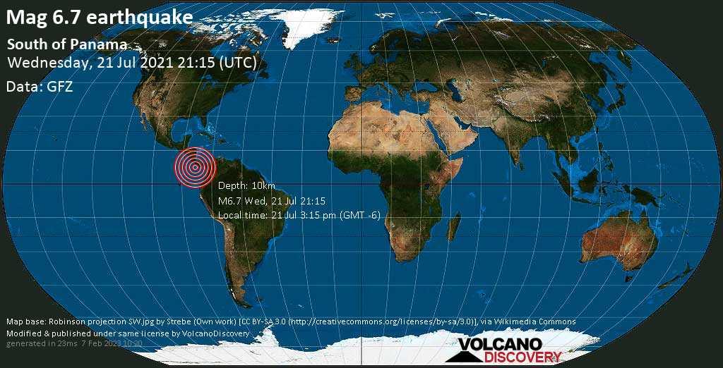 Major magnitude 6.7 earthquake - North Pacific Ocean, 126 km southwest of David, Provincia de Chiriqui, Panama, on 21 Jul 3:15 pm (GMT -6)