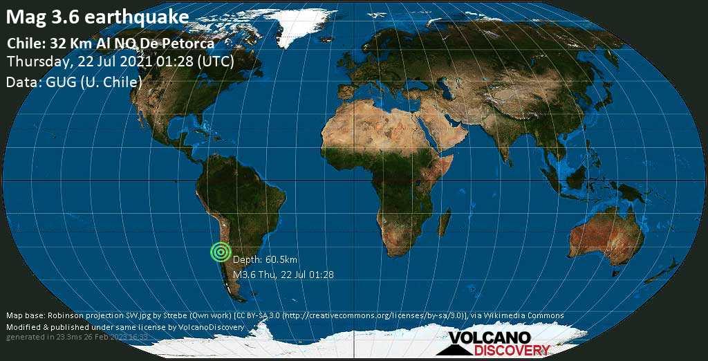 Schwaches Erdbeben Stärke 3.6 - 47 km südlich von Illapel, Provincia de Choapa, Coquimbo Region, Chile, am Donnerstag, 22. Jul 2021 um 01:28 GMT