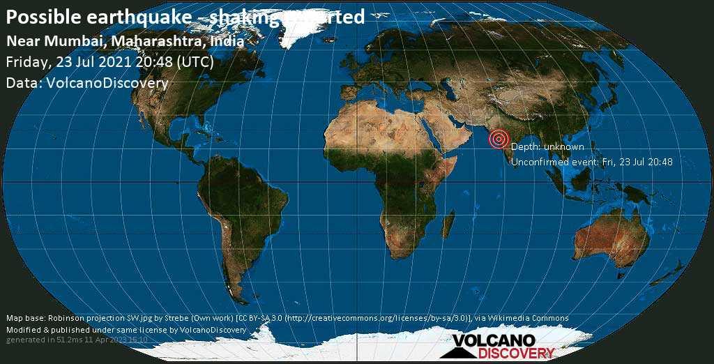 Gemeldetes Erdbeben oder erdbebenähnliches Ereignis: 5.2 km südwestlich von Borivali, Mumbai City District, Maharashtra, Indien, am Freitag, 23. Jul 2021 um 20:48 GMT