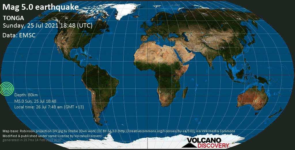 Moderate mag. 5.0 earthquake - South Pacific Ocean, Tonga, 275 km southwest of Apia, Tuamasaga, Samoa, on 26 Jul 7:48 am (GMT +13)