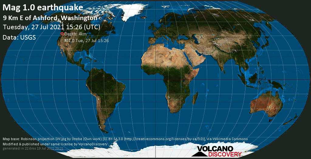 Minor mag. 1.0 earthquake - 9 Km E of Ashford, Washington, on Tuesday, July 27, 2021 at 15:26 (GMT)