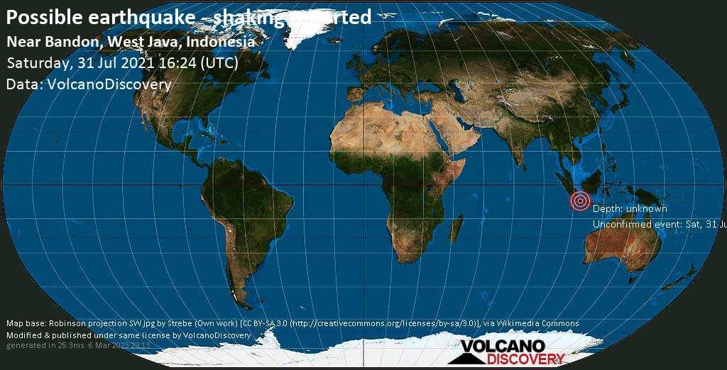 Зарегистрированное землетрясение или сходное с землетрясением событие: 8.9 km к северо-западу от Бандунг, Индонезия, Суббота, 31 июля 2021 16:24