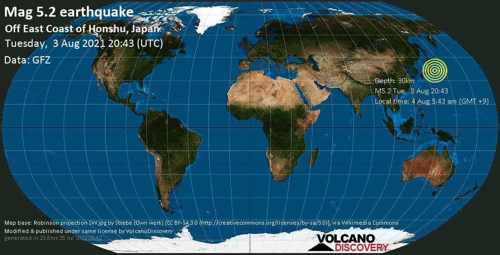 Moderate mag. 5.2 earthquake - North Pacific Ocean, 127 km east of Mito, Ibaraki, Japan, on Wednesday, Aug 4, 2021 5:43 am (GMT +9)