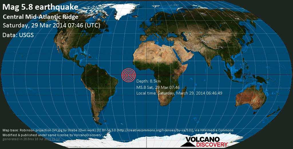 Moderato terremoto magnitudine 5.8 - South Atlantic Ocean, sabato, 29 marzo 2014