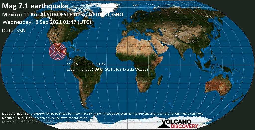 Major magnitude 7.1 earthquake - North Pacific Ocean, 8 km south of Acapulco de Juarez, Guerrero, Mexico, on Tuesday, Sep 7, 2021 8:47 pm (GMT -5)