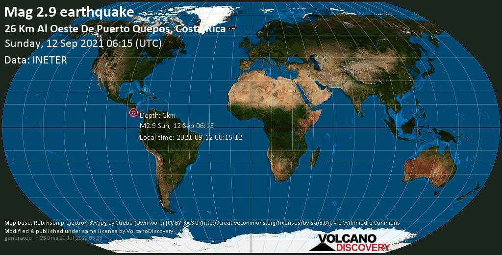 Light mag. 2.9 earthquake - North Pacific Ocean, 63 km southwest of San Jose, San José, Costa Rica, on Sunday, Sep 12, 2021 12:15 am (GMT -6)