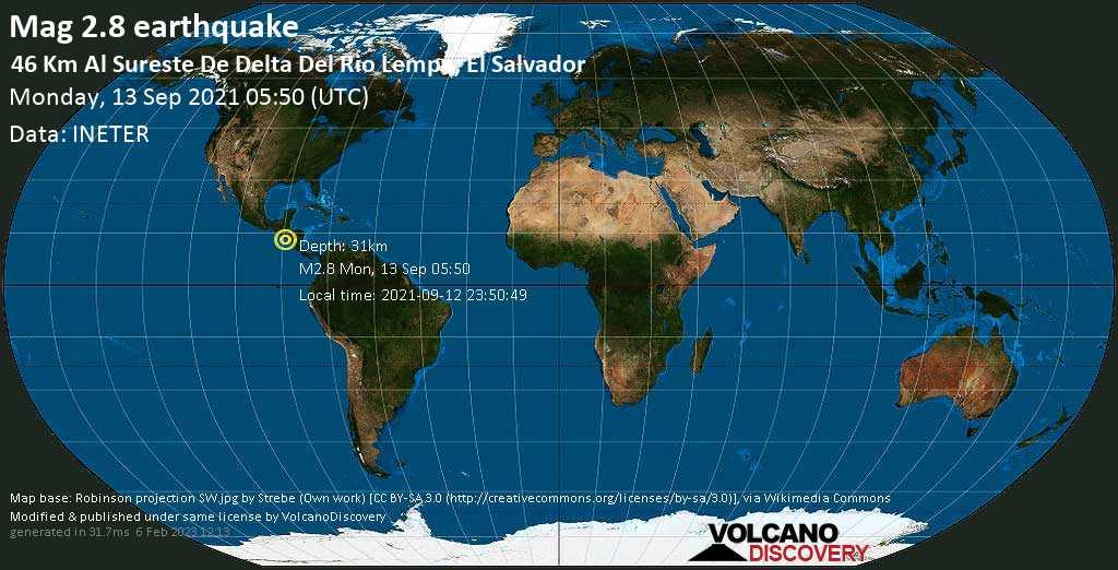Weak mag. 2.8 earthquake - North Pacific Ocean, 55 km south of Usulutan, El Salvador, on Sunday, Sep 12, 2021 11:50 pm (GMT -6)