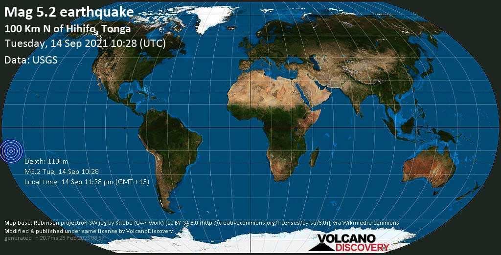 Moderate mag. 5.2 earthquake - South Pacific Ocean, Tonga, 266 km southwest of Apia, Tuamasaga, Samoa, on Tuesday, Sep 14, 2021 11:28 pm (GMT +13)