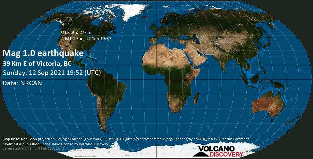 Minor mag. 1.0 earthquake - 39 Km E of Victoria, BC, on Sunday, Sep 12, 2021 12:52 pm (GMT -7)