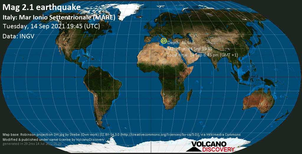 Minor mag. 2.1 earthquake - Ionian Sea, 48 km southeast of Siderno, Provincia di Reggio Calabria, Italy, on Tuesday, Sep 14, 2021 8:45 pm (GMT +1)