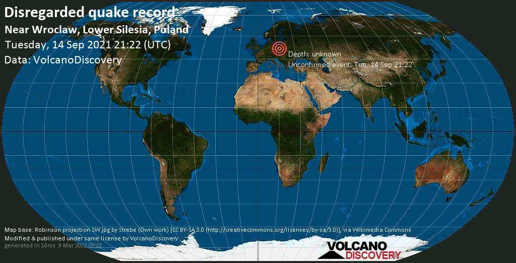 Reported seismic-like event (likely no quake): 0.9 km southwest of Oleśnica, Lower Silesia, Poland, Sep 14, 2021 11:22 pm (GMT +2)
