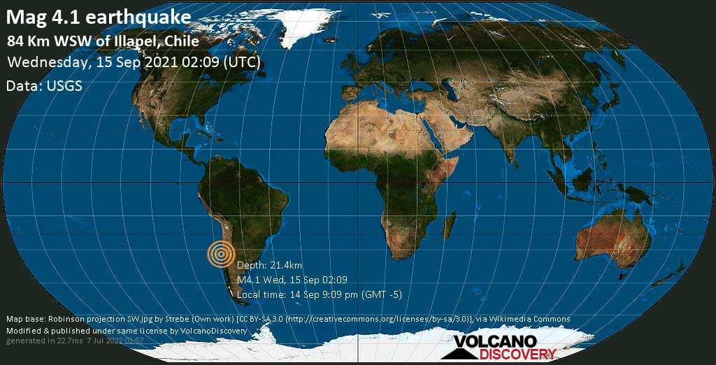 Light mag. 4.1 earthquake - South Pacific Ocean, 85 km west of Illapel, Provincia de Choapa, Coquimbo Region, Chile, on Tuesday, Sep 14, 2021 9:09 pm (GMT -5)