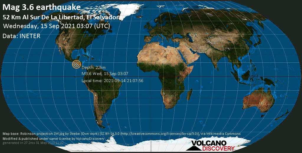 Light mag. 3.6 earthquake - North Pacific Ocean, 77 km south of San Salvador, El Salvador, on Tuesday, Sep 14, 2021 9:07 pm (GMT -6)