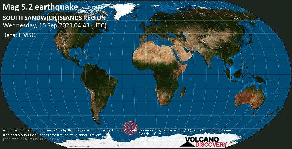 Strong mag. 5.2 earthquake - South Atlantic Ocean, South Georgia & South Sandwich Islands, on Wednesday, Sep 15, 2021 2:43 am (GMT -2)