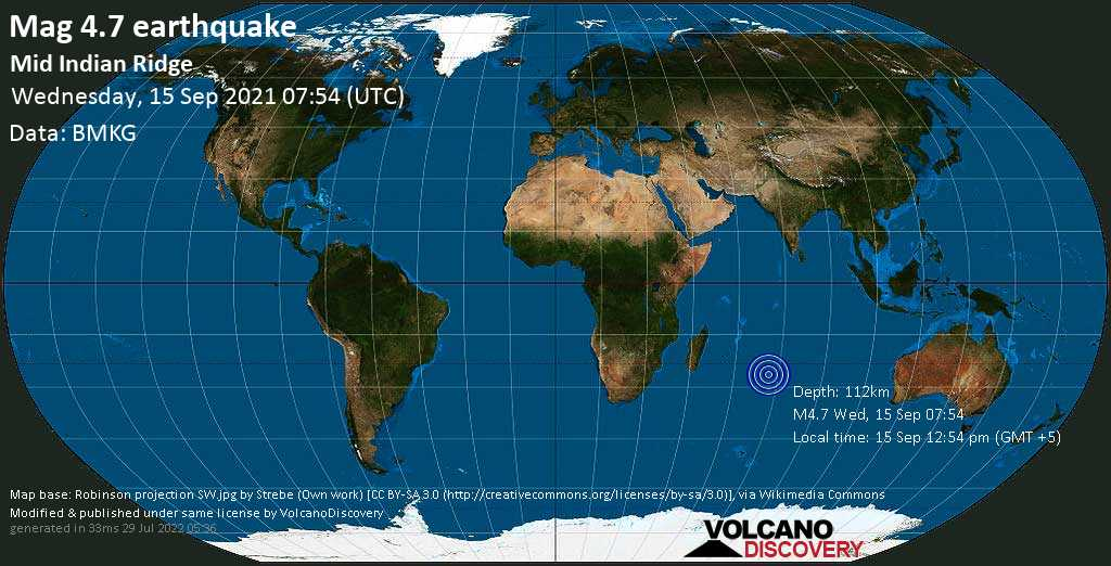 Light mag. 4.7 earthquake - Indian Ocean on Wednesday, Sep 15, 2021 12:54 pm (GMT +5)
