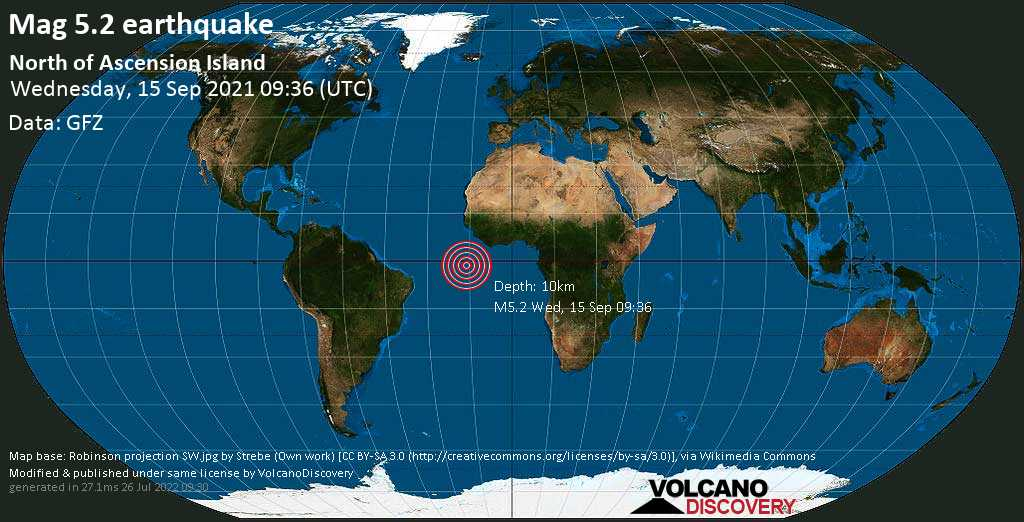 Strong mag. 5.2 earthquake - South Atlantic Ocean on Wednesday, Sep 15, 2021 8:36 am (GMT -1)