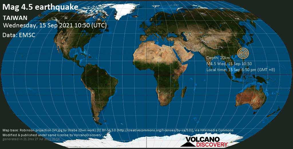 Moderate mag. 4.5 earthquake - Taitung, 51 km northeast of Taitung City, Taiwan, on Wednesday, Sep 15, 2021 6:50 pm (GMT +8)