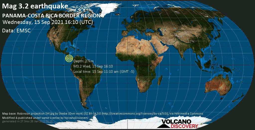 Séisme très faible mag. 3.2 - Baru District, 40 km à l\'ouest de David, Provincia de Chiriqui, Panama, mercredi, 15 sept. 2021 11:10 (GMT -5)