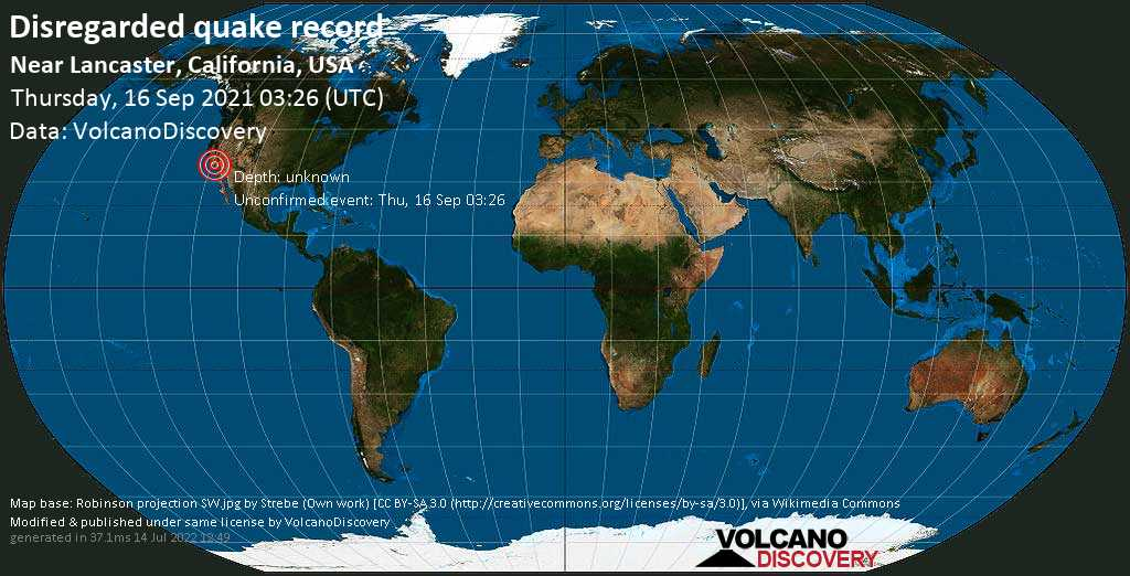 Unbekanntes (usrprünglich als Erdbeben) gemeldetes Ereignis: 4.1 km südöstlich von Lancaster, Los Angeles County, Kalifornien, USA, am Mittwoch, 15. Sep 2021 um 20:26 Lokalzeit