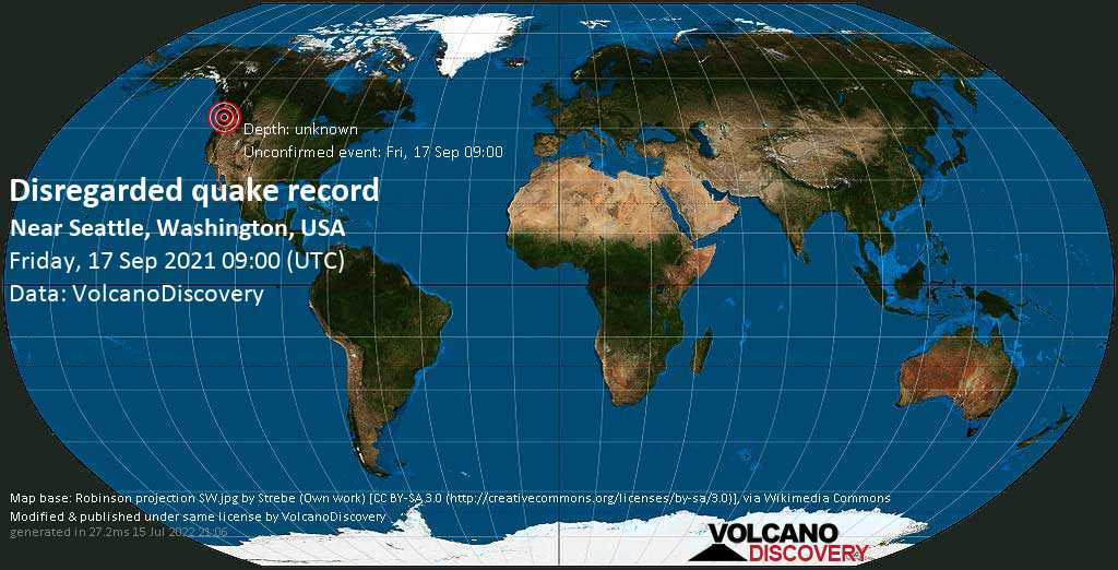 Reported seismic-like event (likely no quake): 2 mi northeast of Edmonds, Snohomish County, Washington, USA, Sep 17, 2021 2:00 am (GMT -7)