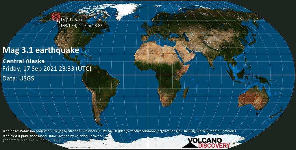 Light mag. 3.1 earthquake - Fairbanks North Star Parish, 41 mi southeast of Fairbanks, Alaska, USA, on Friday, Sep 17, 2021 3:33 pm (GMT -8)