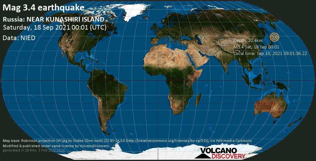 Light mag. 3.4 earthquake - North Pacific Ocean, 22 km southeast of Shikotan, Sakhalin Oblast, Russia, on Saturday, Sep 18, 2021 10:01 am (GMT +10)