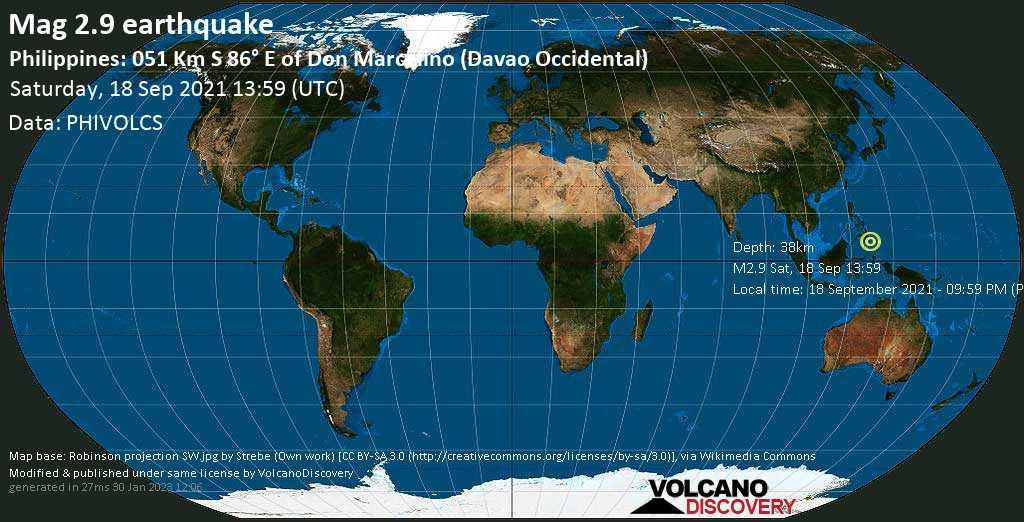 Séisme très faible mag. 2.9 - Philippine Sea, 65 km au sud-est de Malita, Davao Occidental, Philippines, samedi, 18 sept. 2021 21:59 (GMT +8)
