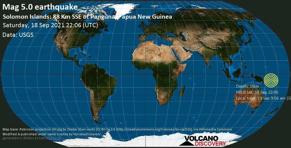 Terremoto moderado mag. 5.0 - Solomon Sea, 97 km S of Arawa, Bougainville, Papua New Guinea, domingo, 19 sep 2021 09:06 (GMT +11)