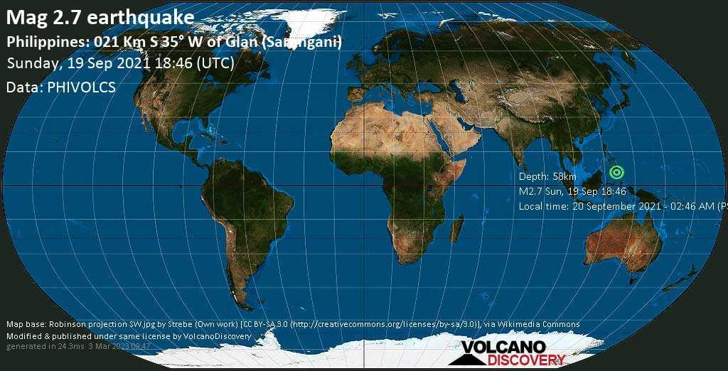 Séisme mineur mag. 2.7 - Celebes Sea, 21 km au sud-ouest de Glan, Philippines, lundi, 20 sept. 2021 02:46 (GMT +8)