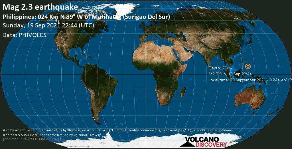 Séisme mineur mag. 2.3 - Province of Surigao del Sur, 28 km au nord-est de Bah-Bah, Philippines, lundi, 20 sept. 2021 06:44 (GMT +8)