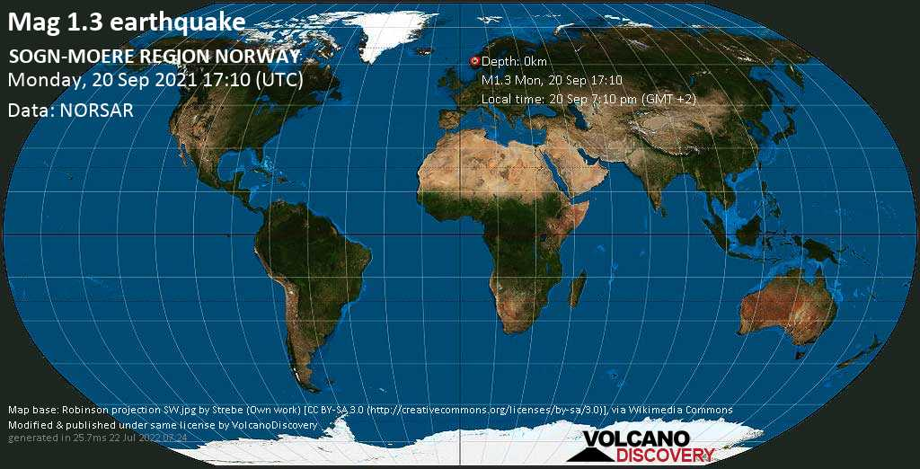 Sismo minore mag. 1.3 - SOGN-MOERE REGION NORWAY, lunedì, 20 set 2021 19:10 (GMT +2)
