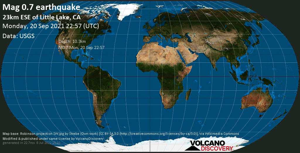 Minor mag. 0.7 earthquake - 23km ESE of Little Lake, CA, on Monday, Sep 20, 2021 3:57 pm (GMT -7)