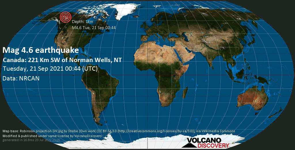 Moderate mag. 4.6 earthquake - Canada: 221 Km SW of Norman Wells, NT, on Monday, Sep 20, 2021 6:44 pm (GMT -6)