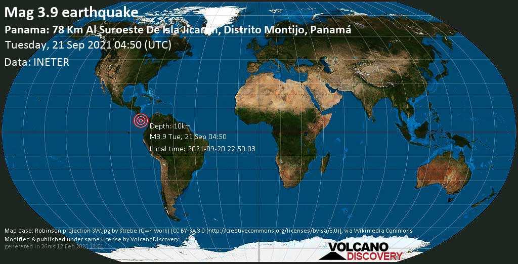 Moderate mag. 3.9 earthquake - North Pacific Ocean, 163 km south of David, Provincia de Chiriqui, Panama, on Monday, Sep 20, 2021 11:50 pm (GMT -5)