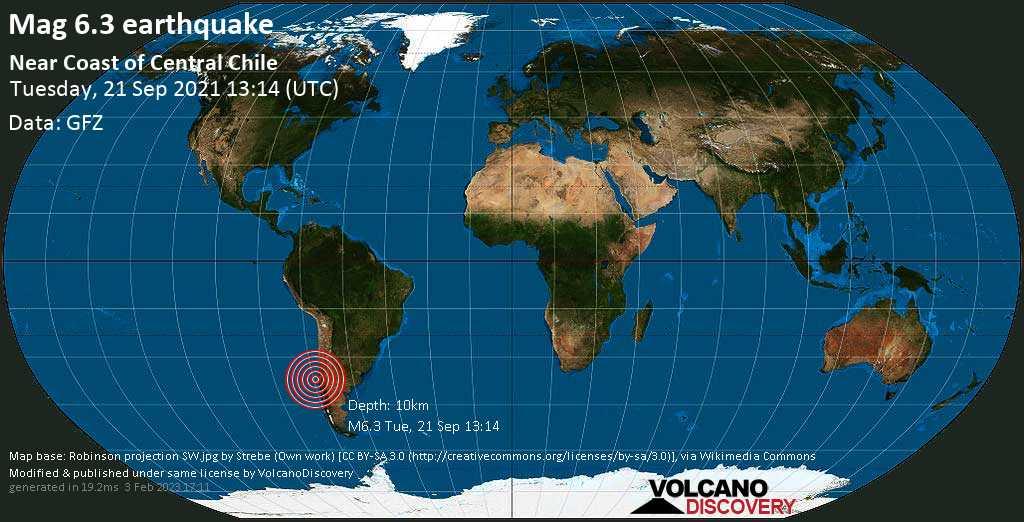 Terremoto molto forte magnitudine 6.3 - South Pacific Ocean, 63 km a ovest da Concepción, Provincia de Concepcion, Region del Biobio, Cile, martedì, 21 set 2021 08:14 (GMT -5)