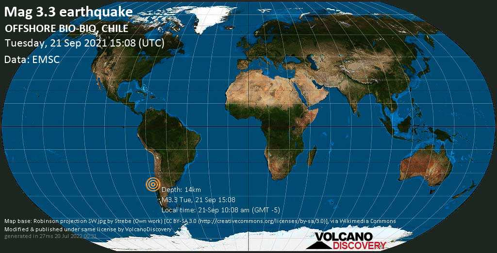 Sismo leggero mag. 3.3 - South Pacific Ocean, 91 km a ovest da Concepción, Provincia de Concepcion, Region del Biobio, Cile, martedì, 21 set 2021 10:08 (GMT -5)