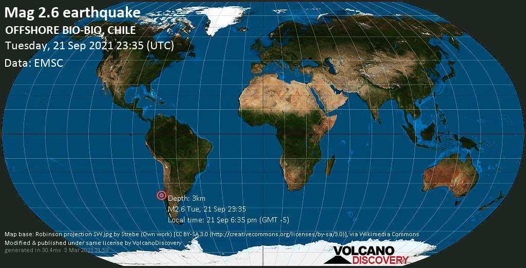 Sismo debile mag. 2.6 - South Pacific Ocean, 97 km a ovest da Concepción, Provincia de Concepcion, Region del Biobio, Cile, martedì, 21 set 2021 18:35 (GMT -5)